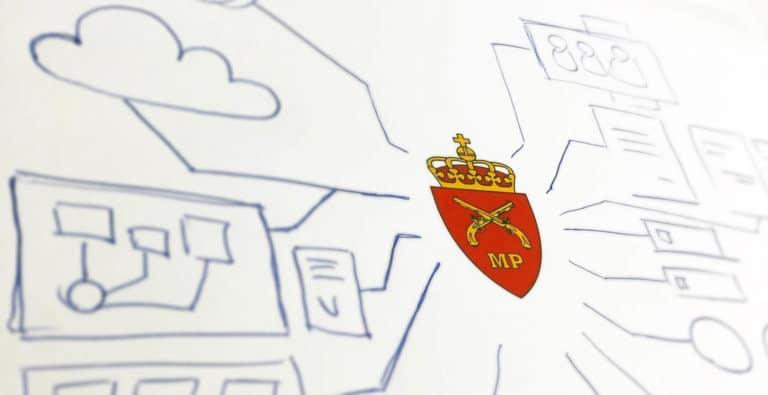 Ulike tegninger som alle peker mot millitærpolitiets logo
