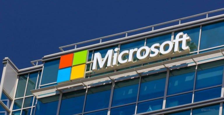 Microsoft logo på byggning
