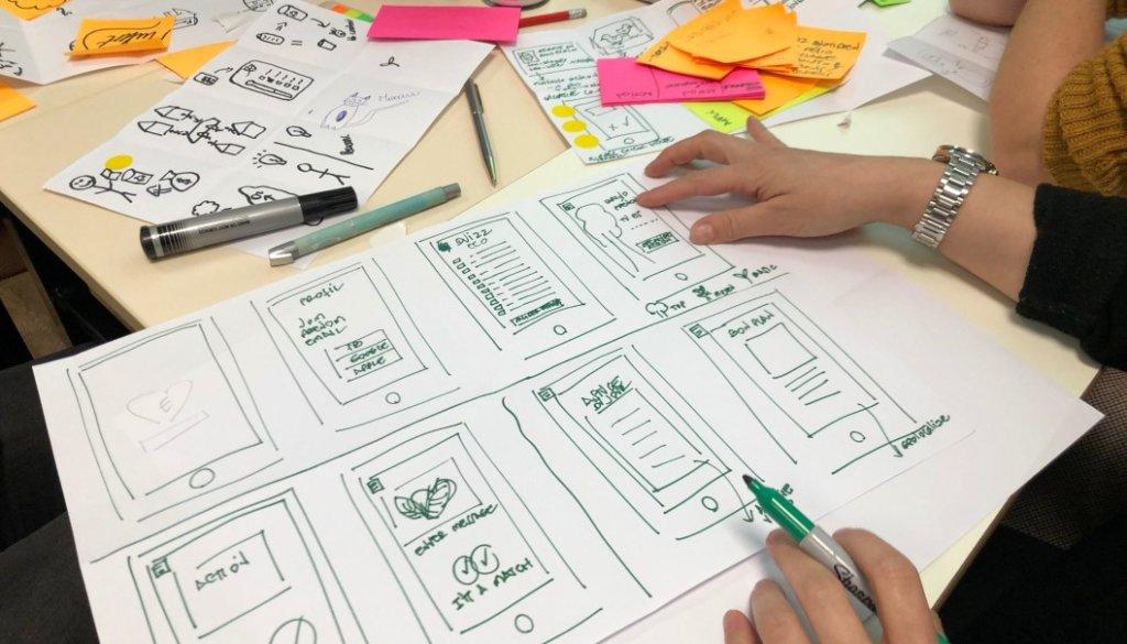 Design skisser av app