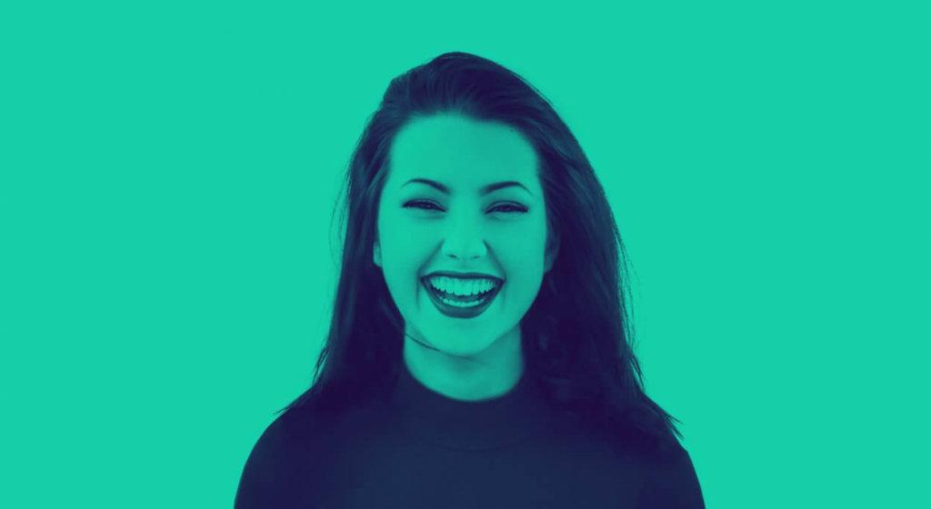 Green duotone aand woman smiling