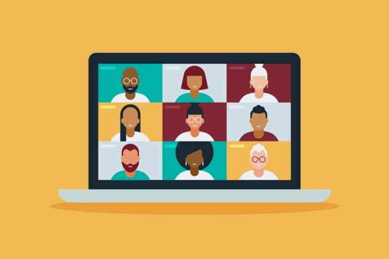 illustrasjon av mennesker i digitalt møte